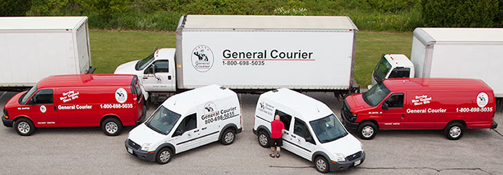 Delivery Trucks, delivery vans and courier cars from General Courier